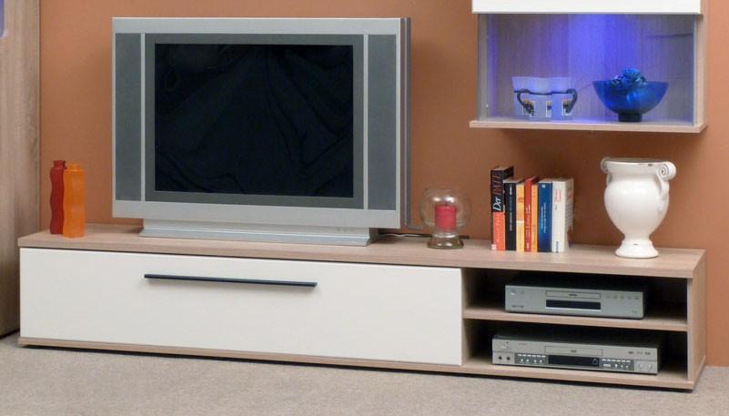 tv lowboard mod tv660 sonoma eiche weiss hochglanz h c m bel. Black Bedroom Furniture Sets. Home Design Ideas