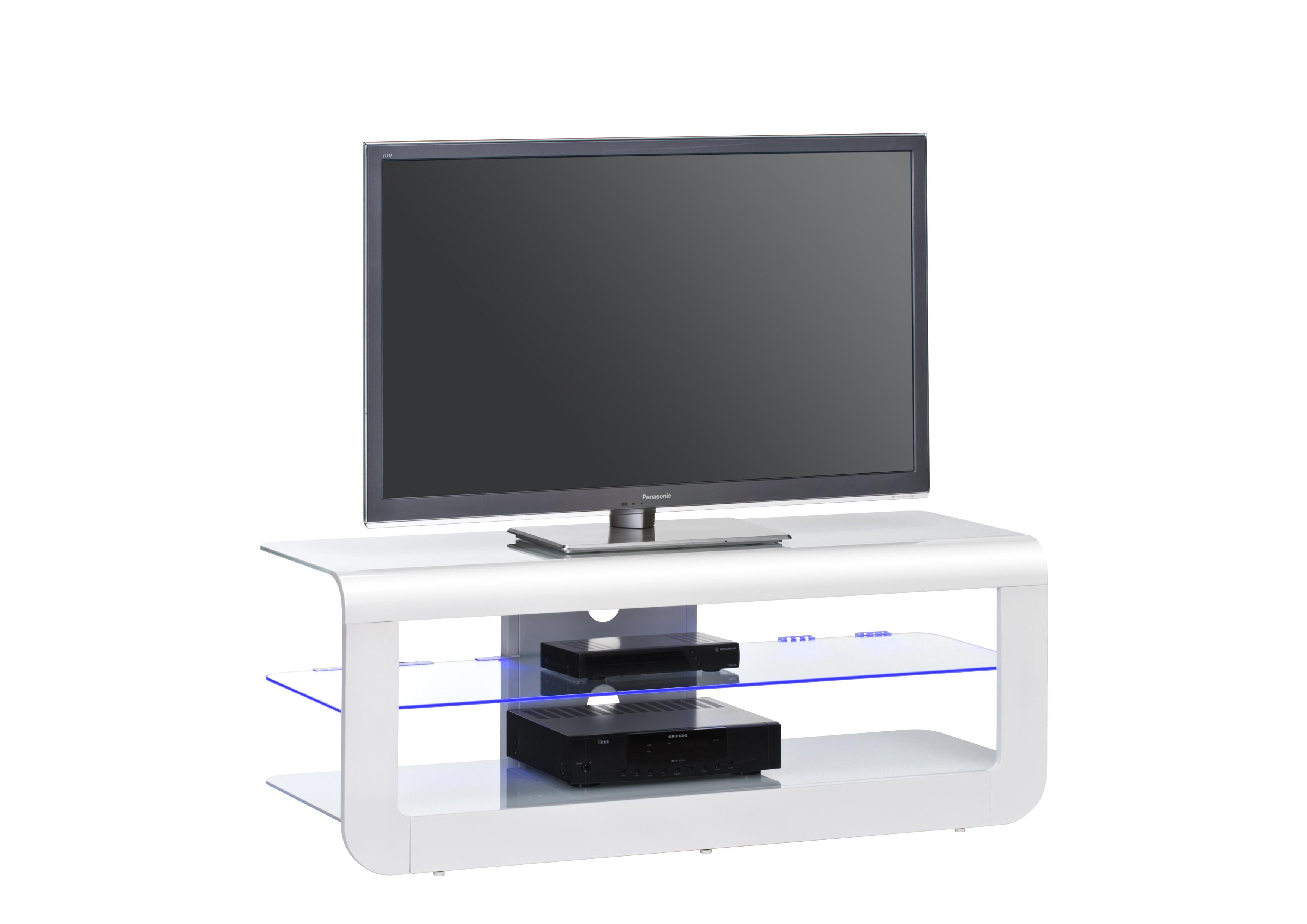 Tv Rack Ablage Weiß Hochglanz Weißglas Tv695