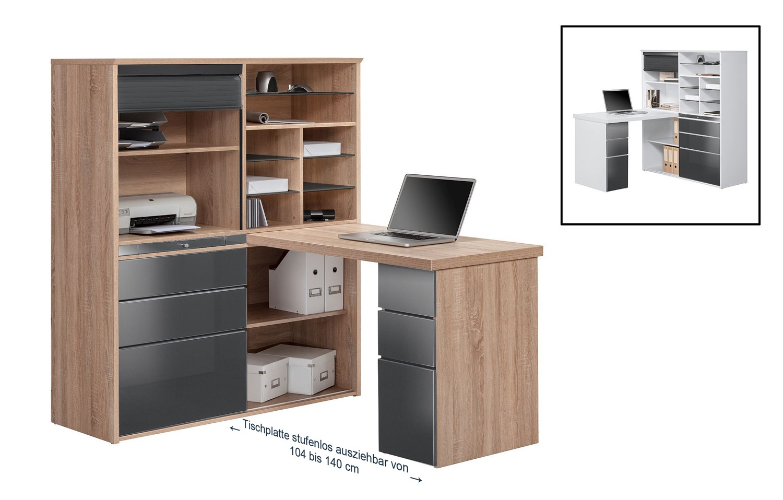 minioffice mod mj089 sonoma eiche grau hochglanz h c m bel. Black Bedroom Furniture Sets. Home Design Ideas