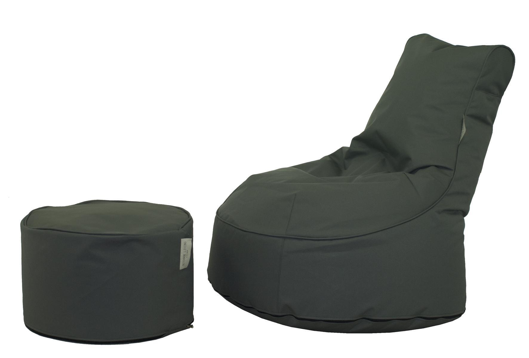 2tlg Outdoor Sitzsack Set Mod Outdoorcomfortandpoufmiami Grau