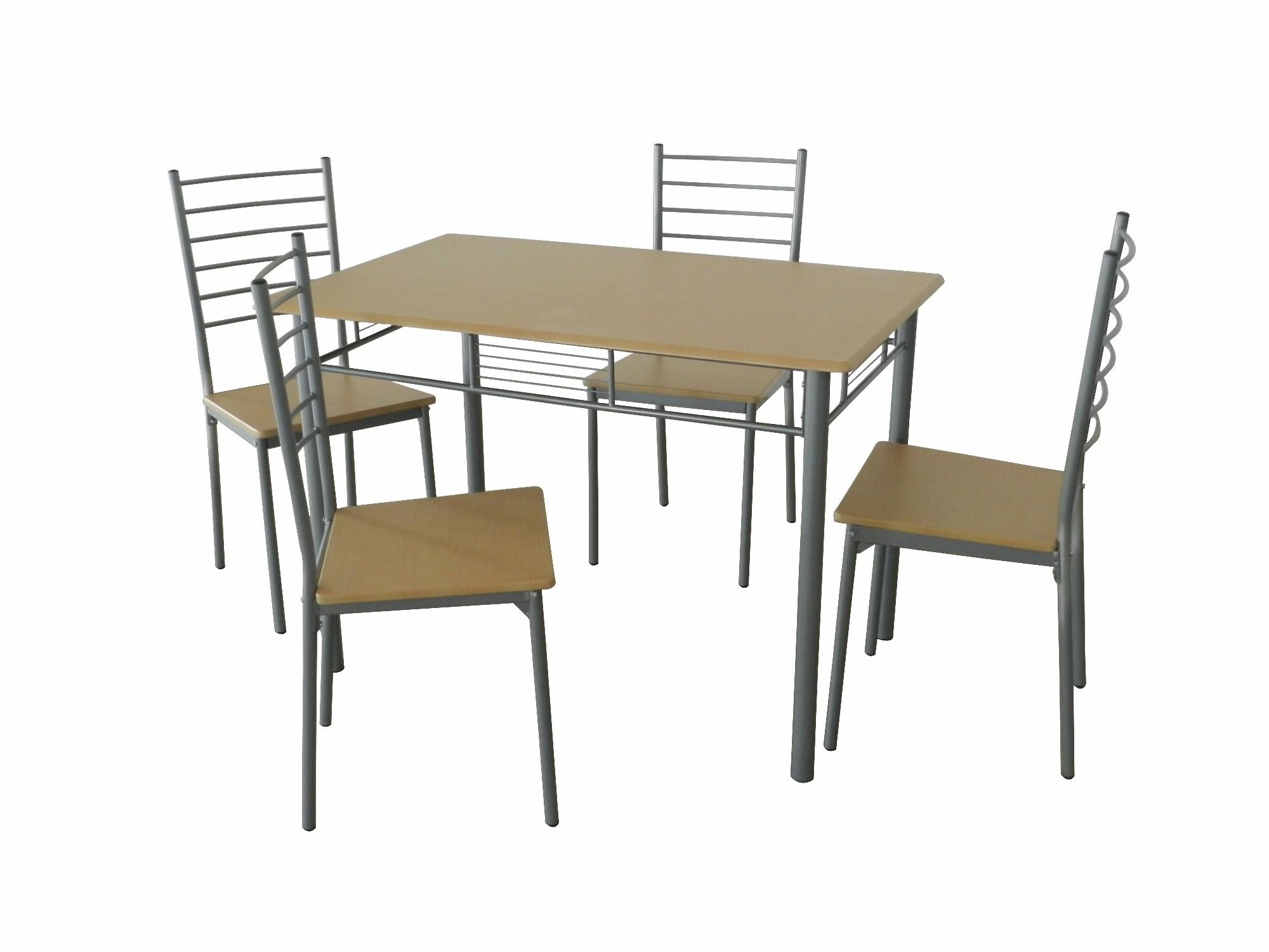 5tlg. Essgruppe mit Küchentisch und 4 Stühlen SO233 Buche Grau - H&C ...