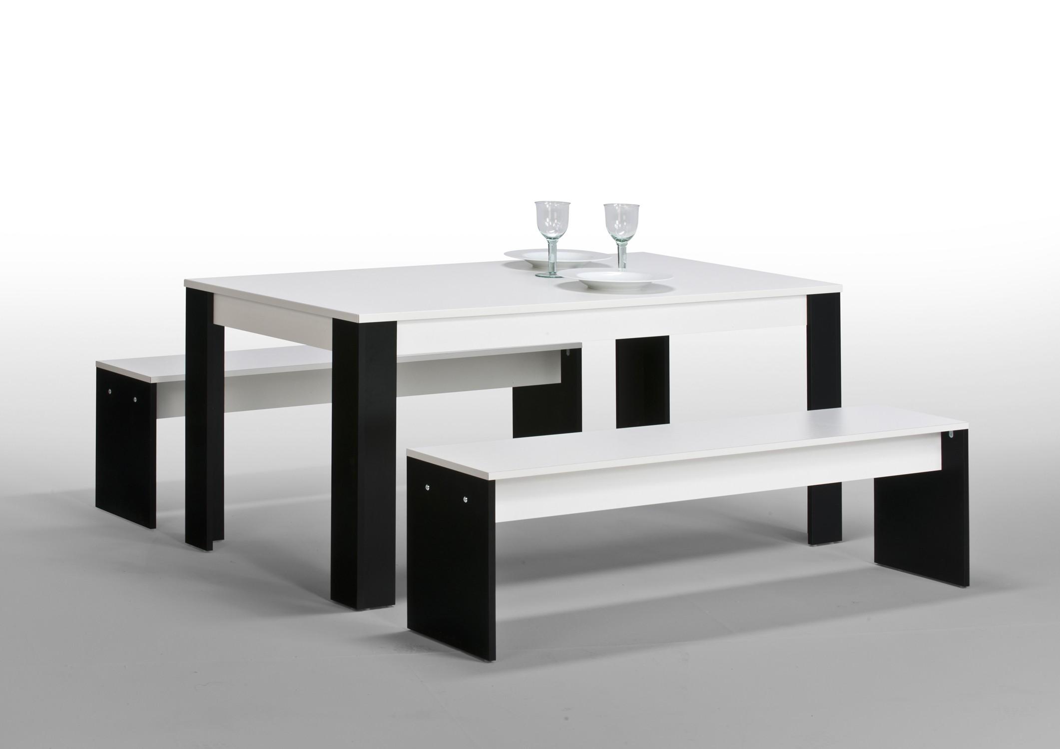 esszimmer set mod ke876 weiss schwarz h c m bel. Black Bedroom Furniture Sets. Home Design Ideas