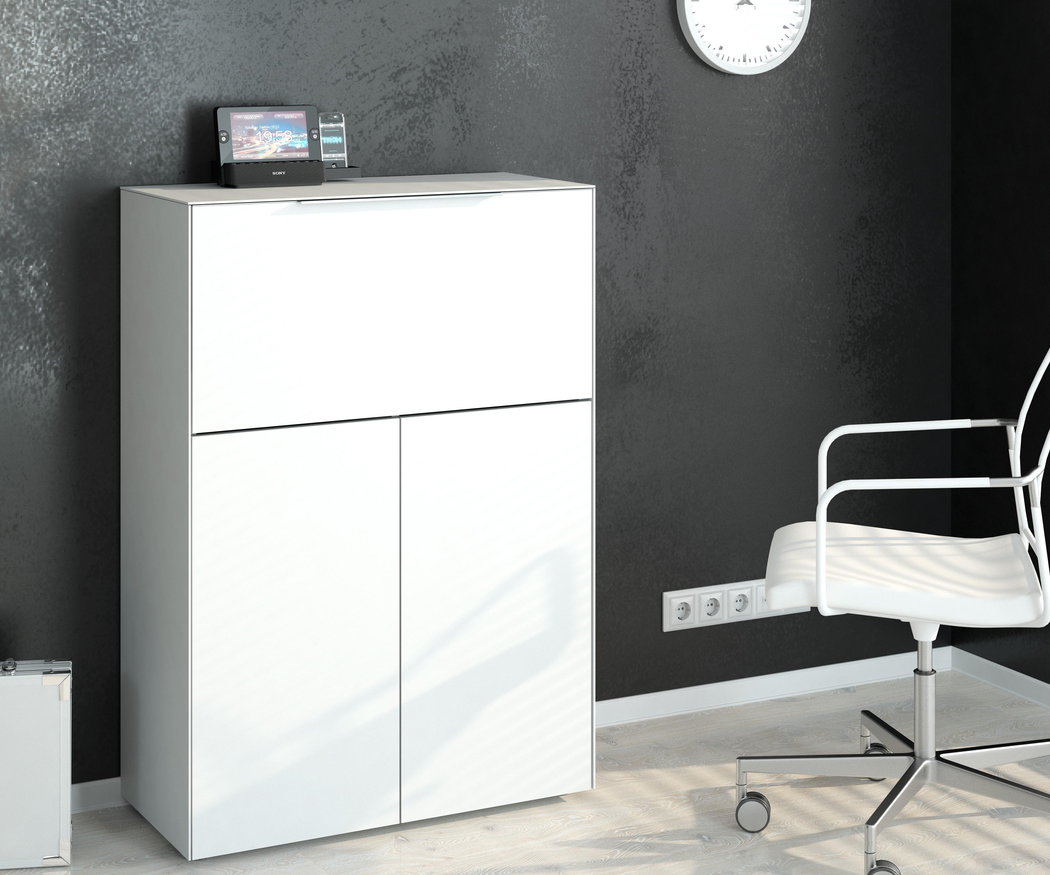 Sekretar Kommode Mit Integriertem Schreibtisch Mod Mj124 Weissglas