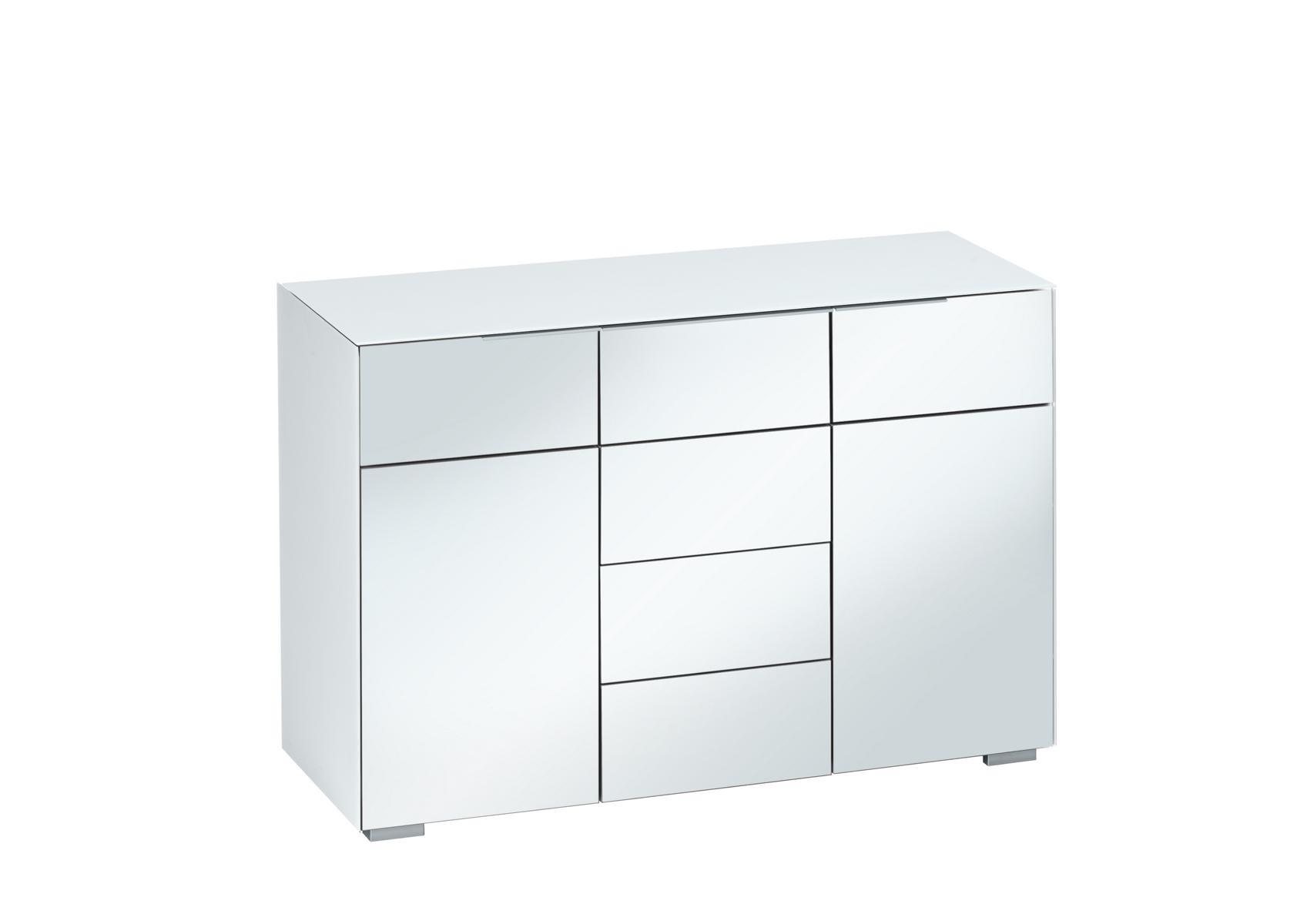 Kommode Sideboard Mod Mj149 Weissglas Grauspiegel H C Mobel