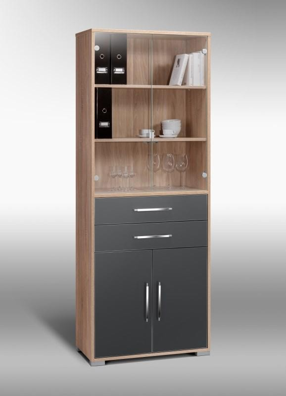 schrank mod mj428 sonoma eiche grau hochglanz h c m bel. Black Bedroom Furniture Sets. Home Design Ideas