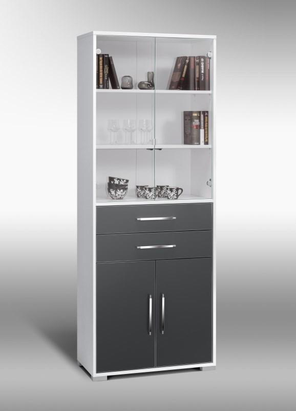 schrank mod mj431 icy wei grau hochglanz h c m bel. Black Bedroom Furniture Sets. Home Design Ideas