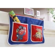 Bett-Tasche für Hoch- und Etagenbetten Mod.809612 Blau - Rot - Piraten-Motiv