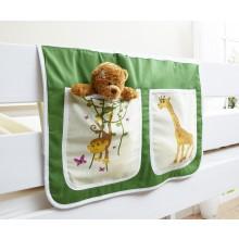 Bett-Tasche für Hoch- und Etagenbetten Mod.880161 Grün - Safari-Motiv