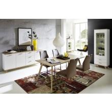 3tlg. Speisezimmer - Esszimmer Mod.GM710 Weiss - San Remo Eiche