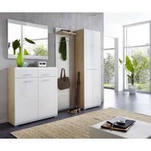4tlg. Garderobenprogramm Mod.GM876 Edelbuche - Weiss Hochglanz