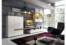 Wohnzimmerset Mod.GM486 Eiche - Weiss Hochglanz