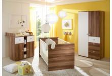 Babyzimmer 3-teilig Mod.804556 Walnuss Weiss