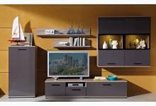 7tlg. Wohnzimmerset Mod.GM487 Eiche - Graphit Hochglanz