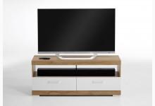 TV/Hifi Lowboard 120 cm Mod. F4020-005 Alteiche Weiß Edelglanz