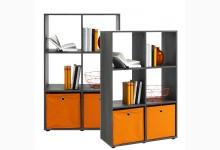Bücherregal - Raumteiler Mod. R566_6 Silbereiche