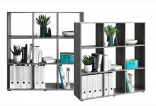 Bücherregal - Raumteiler Mod. R566_7 Silbereiche