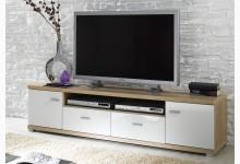 TV Lowboard - Ablage - Unterschrank Sonoma Eiche Weiß Hochglanz TV701