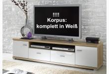 TV Lowboard - Ablage - Unterschrank Komplett in Weiß mit Weiß Hochglanz Fronten TV702