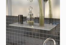 Glasregal - Badregal - Mehrzweckregal aus Weißglas 40 cm breit R580_1W