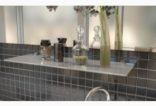 Glasregal - Badregal - Mehrzweckregal aus Weißglas 60 cm breit R580_2W