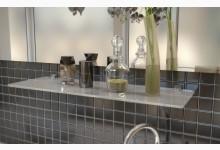 Glasregal - Badregal - Mehrzweckregal aus Weißglas 90 cm breit R580_3W