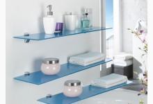 3er Wandregal - Set  Glas Blau R585