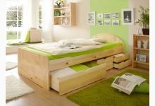 Einzelbett 90x200 mit Schubkästen Mod.880635 Kiefer Natur