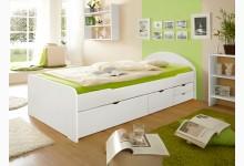 Einzelbett 90x200 mit Schubkästen Mod.880673 Kiefer Weiss