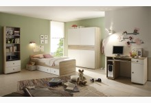 Jugendzimmer mit Schwebetürenschrank Mod.22-178-68 Sonoma Eiche - Weiss