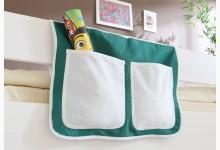 Bett-Tasche für Hoch- und Etagenbetten Mod.850270 Dunkelgrün - Weiss