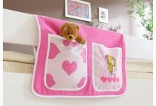 Bett-Tasche für Hoch- und Etagenbetten Mod.809506 Rosa - Prinzessin-Motiv
