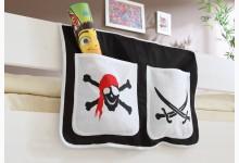 Bett-Tasche für Hoch- und Etagenbetten Mod.809629 Schwarz - Weiss - Piraten-Motiv