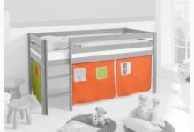 3-tlg. Vorhangstoff Classic Mod.858269 Orange - Grün