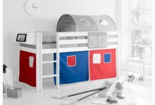 3-tlg. Vorhangstoff Classic Mod.858276 Blau - Rot