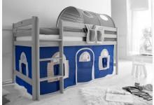 2-tlg. Vorhangstoff Landhaus Mod.836687 Blau - Weiss