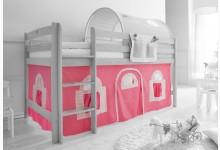 2-tlg. Vorhangstoff Landhaus Mod.836700 Rosa - Weiss