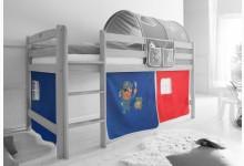 3-tlg. Vorhangstoff Mod.836441 Blau - Rot - Piraten-Motiv