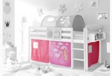 3-tlg. Vorhangstoff Mod.857477 Pink - Prinzessin-Motiv