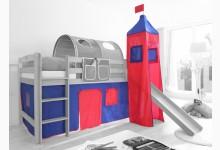 2-tlg. Vorhangstoff mit Turm Classic Mod.801128 Blau - Rot