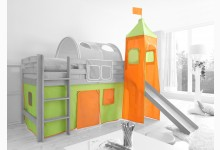 2-tlg. Vorhangstoff mit Turm Classic Mod.801138 Grün - Orange