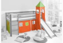 2-tlg. Vorhangstoff mit Turm Classic Mod.858290 Orange - Grün