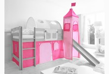 2-tlg. Vorhangstoff mit Turm Classic Mod.801142 Rosa - Pink