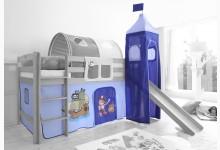 2-tlg. Vorhangstoff mit Turm Mod.836489 Hellblau - Dunkelblau - Piraten-Motiv