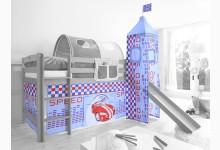 2-tlg. Vorhangstoff mit Turm Mod.801197 Blau - Rot - Weiss - Rennfahrer-Motiv