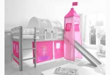 2-tlg. Vorhangstoff mit Turm Mod.801203 Rosa - Prinzessin-Motiv