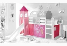 3-tlg. Vorhangstoff mit Turm Mod.857484 Pink - Prinzessin-Motiv