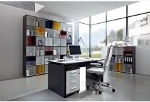 7tlg. Arbeits- & Bürozimmer Mod.GM688 Anthrazit - Weiss