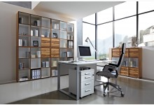 7tlg. Arbeits- & Bürozimmer Mod.GM689 Baltimore-Walnuss - Weiss
