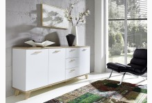 Sideboard - Kommode Mod.GM692 Weiss - San Remo Eiche