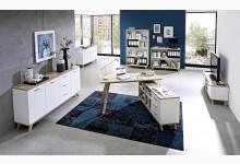 6tlg. Arbeits- & Bürozimmer Mod.GM706 Weiss - San Remo Eiche